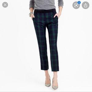 Jcrew Cameron plaid crop pants with velvet trim